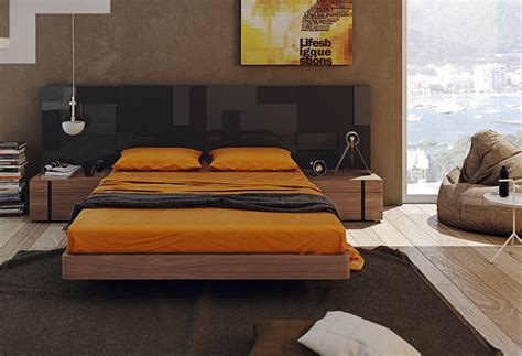 Lacquered Exotic Wood Platform And Headboard Bed Boston