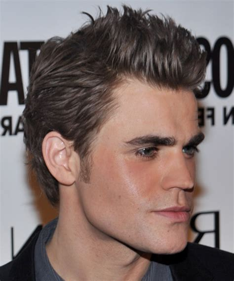 paul wesley casual short straight hairstyle ash hair color