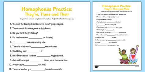 homophones practice worksheet they re there their homophone