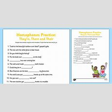 Homophones Practice Worksheet They're There Their Homophone