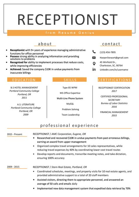 Resume For Receptionist by Receptionist Resume Sle Writing Guide Resume Genius