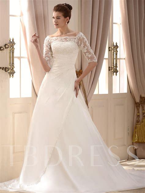 princess  sleeve sequins appliques vintage wedding