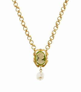 Dolce & Gabbana Cameo Drop Necklace in Gold | Lyst