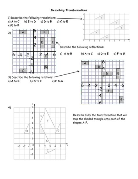 describing transformations worksheets by jhofmannmaths