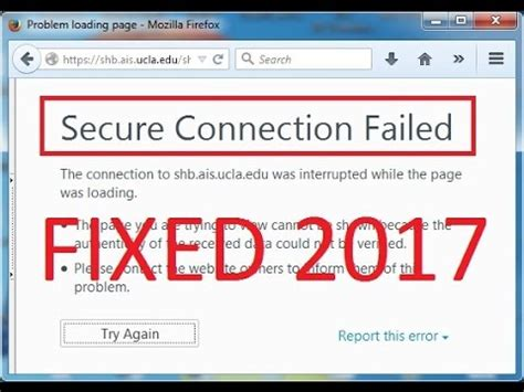 secure connection failed fix solved 2017