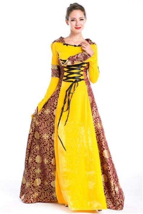 Yellow Fancy Queen Renaissance Halloween Costume   PINK QUEEN