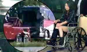 miranda cosgrove   wheelchair  leg  cast