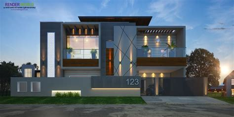 modern elevation rendring   house  design house front design bungalow house design
