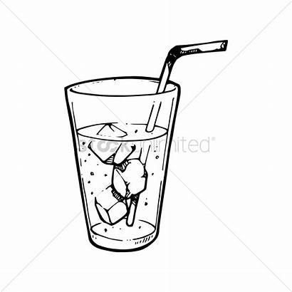 Drink Drawing Straw Iced Vector Soft Illustration