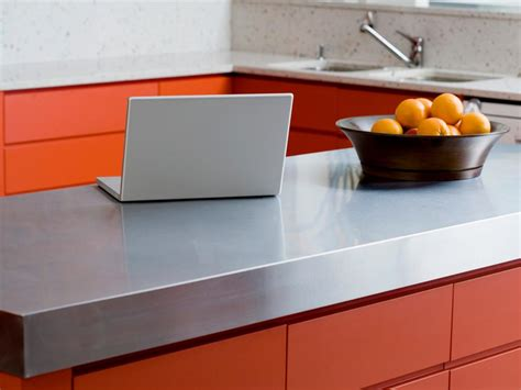 stainless kitchen island stainless steel countertops pictures ideas from hgtv hgtv 2469
