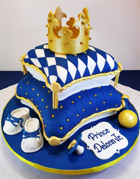royal baby shower cake royal blue and gold baby shower pillow cake cakes