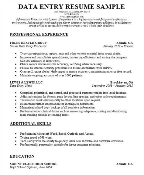 Data Entry Description For Resume by 51 Resume Format Sles