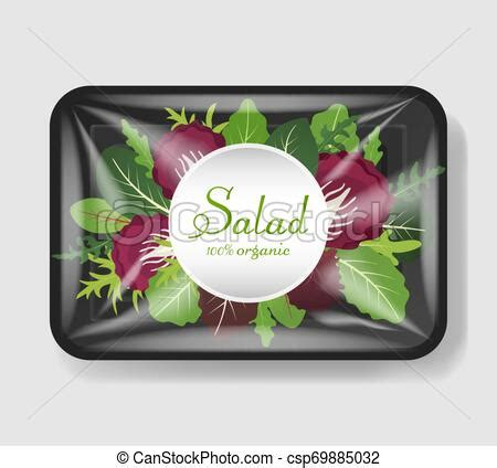 Top view of white polystyrene and plastic packaging mockup. Mix of salad leaves in plastic tray container with ...