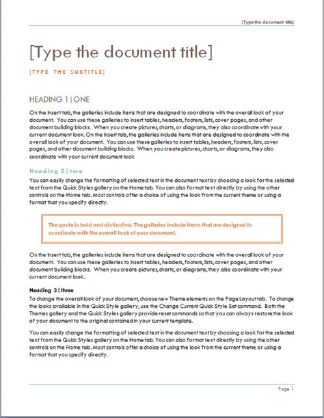 project cover page template word excel templates