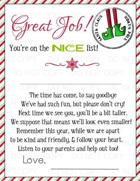 printable magic elf goodbye letter