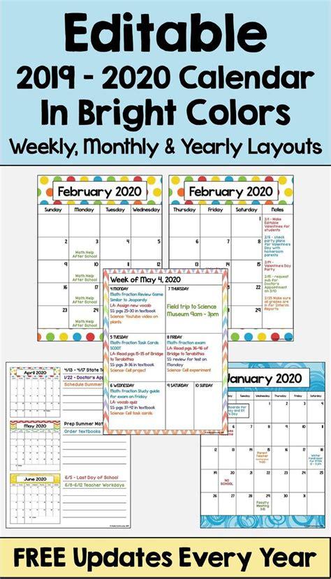 editable calendar updates bright colors cool