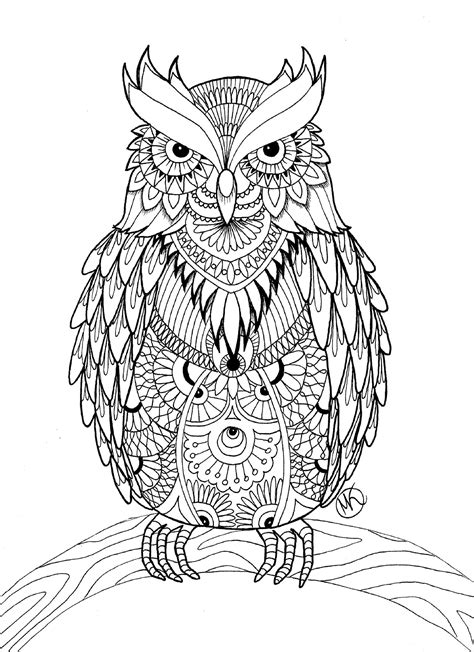 Coloring Owl by Owl Coloring Pages For Adults Free Detailed Owl Coloring