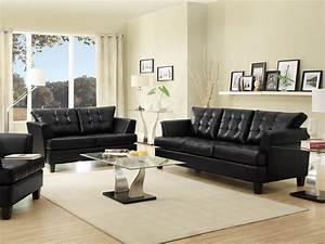 Black leather sofa living room peenmediacom for Black leather sofa living room