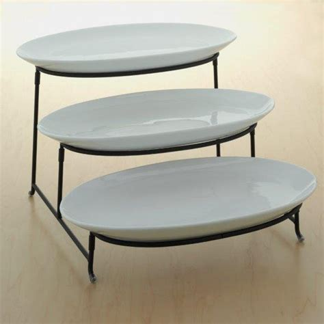 tiered serving platter  improved  tier serving platters  mesh swivel thicker tiered