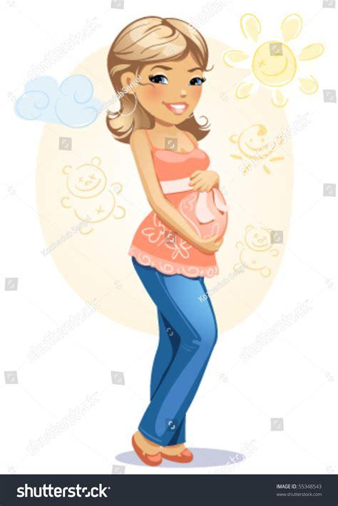 cartoon vector illustration happy pregnant mom stock