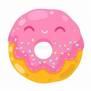 Cute Smiling Donut. Cartoon Food Illustration Stock Vector ...