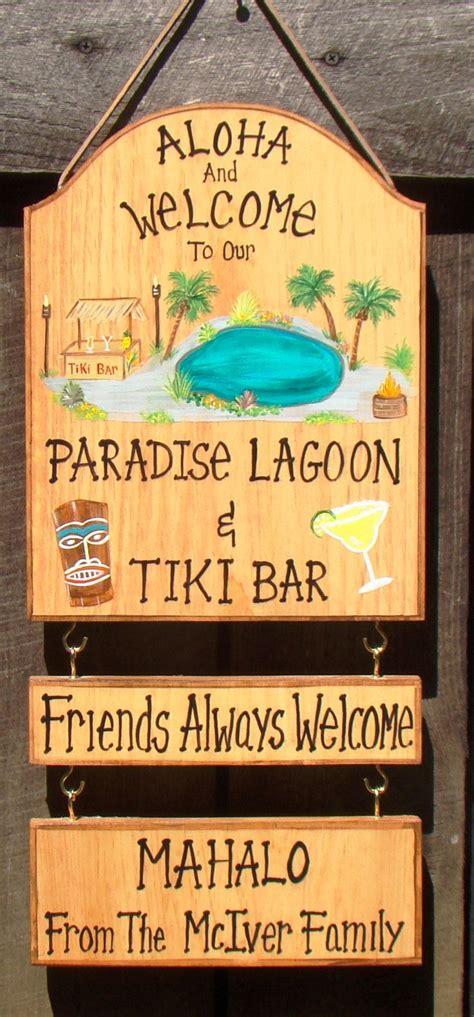 Custom Backyard Signs by Custom Welcome Lagoon Swimming Pool Sign Tropical Tiki Bar