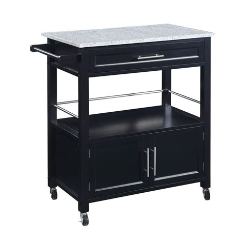 Linon Home Decor Cameron Wood Kitchen Cart With Granite