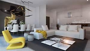 yellow accent living room interior design ideas With comment meubler un studio de 30m2 15 arredamento cucina e soggiorno insieme cucine moderne