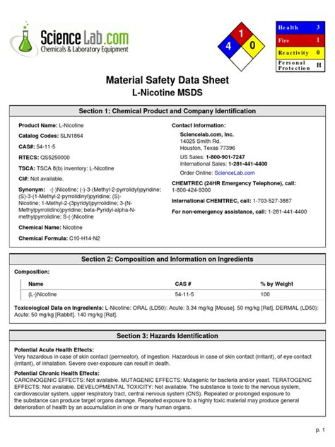 L Msds by L Nicotine Msds Toxicity