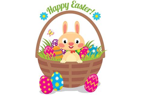 Easter Bunny In A Basket With Eggs Illustrations