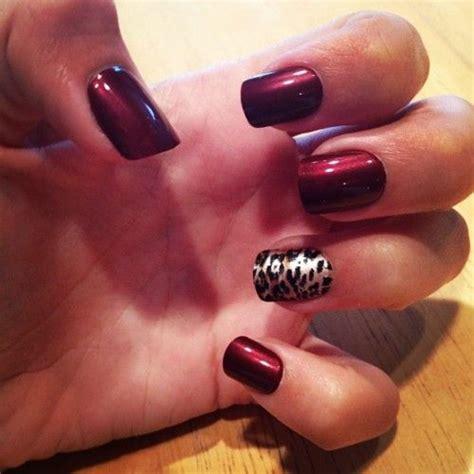 maroon  cheetah nails nail polish inspirations
