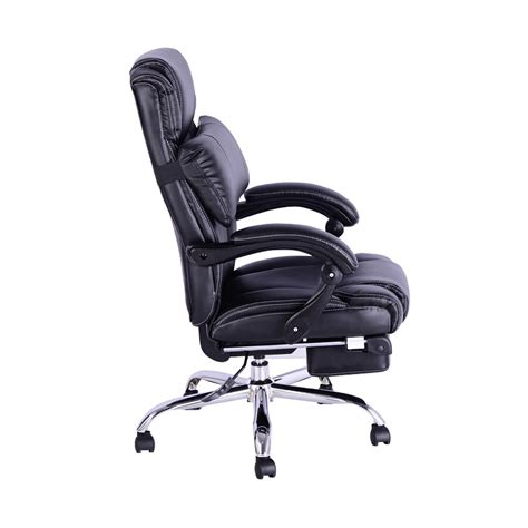 executive reclining office chair footrest black aosom ca