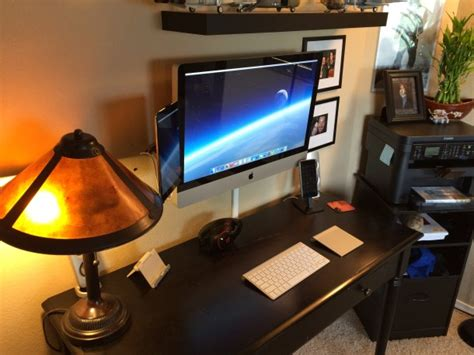 Best Imac Desk Mount by Mac Setup Wall Mounted Imac 27 With As Dual Display