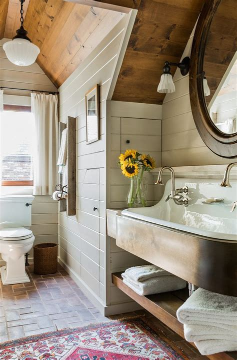 solid stain bathroom farmhouse with tongue and groove