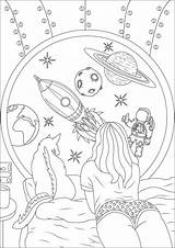Coloring Space Travel Dream Dreaming Pages Adults Stress Adult Anti Cat Pretty Moon Astronaut Stars Earth Colouring Sheets Printable Justcolor sketch template