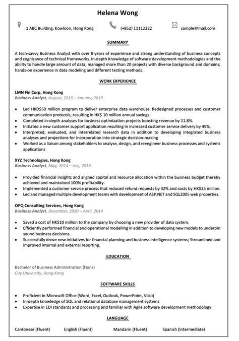 Resume & CV Sample for Business Analyst | jobsDB Hong Kong