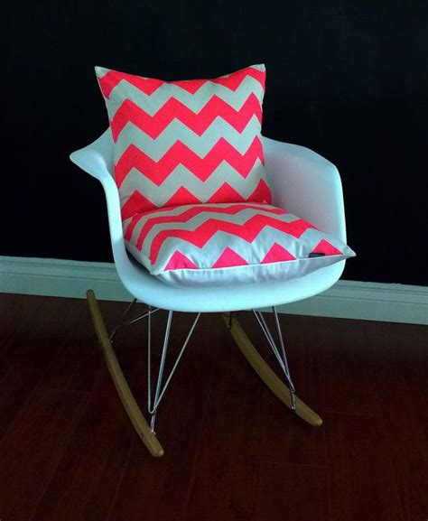 Pink Rocking Chair Cushions For Nursery by Eames Rocking Chair Cushion Cover Neon Pink Chevron