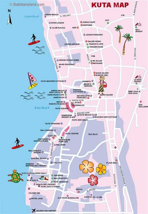 kuta map bali map information travel guides bali