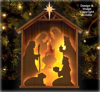 religious lighted nativity silhouette design pattern