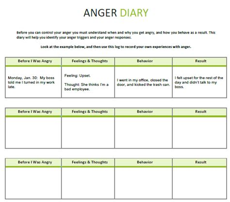 anger diary templates cbt therapy cbt worksheets counseling techniques