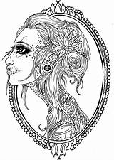 Skull Coloring Pages Tattoo Frame Adult Sugar Printable Getcolorings sketch template