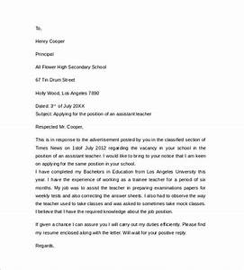 sample teacher cover letter example 12 download free With sample cover letter for educational assistant