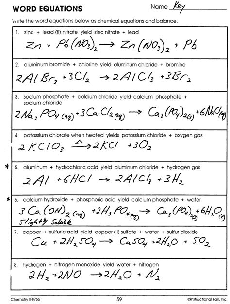 Mr Brueckner's Chemistry Class  Hhs  201112 Key For Word Equations Worksheet
