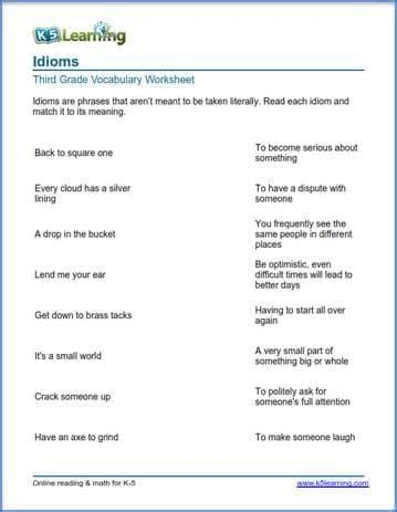 idioms worksheets  learning