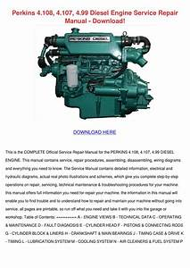 Perkins 4108 4107 499 Diesel Engine Service R By Tyronespruill