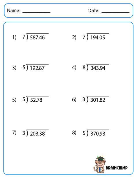 decimal division worksheets no remainders decimal brainchimp