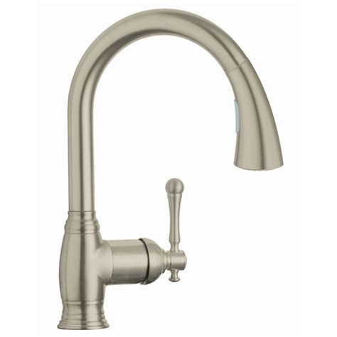 brushed nickel kitchen faucets shop grohe bridgeford brushed nickel pull down kitchen faucet at lowes com