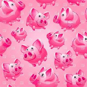 Funny piglets, seamless pink background or wrapping paper ...