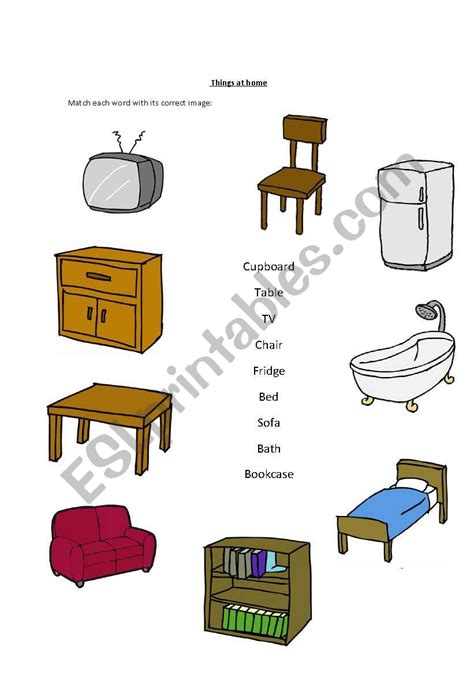 things at home esl worksheet by xhily4u