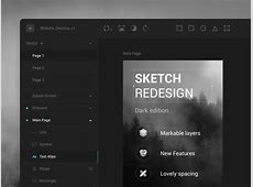 Sketch App Dark UI Concept Sketch freebie Download